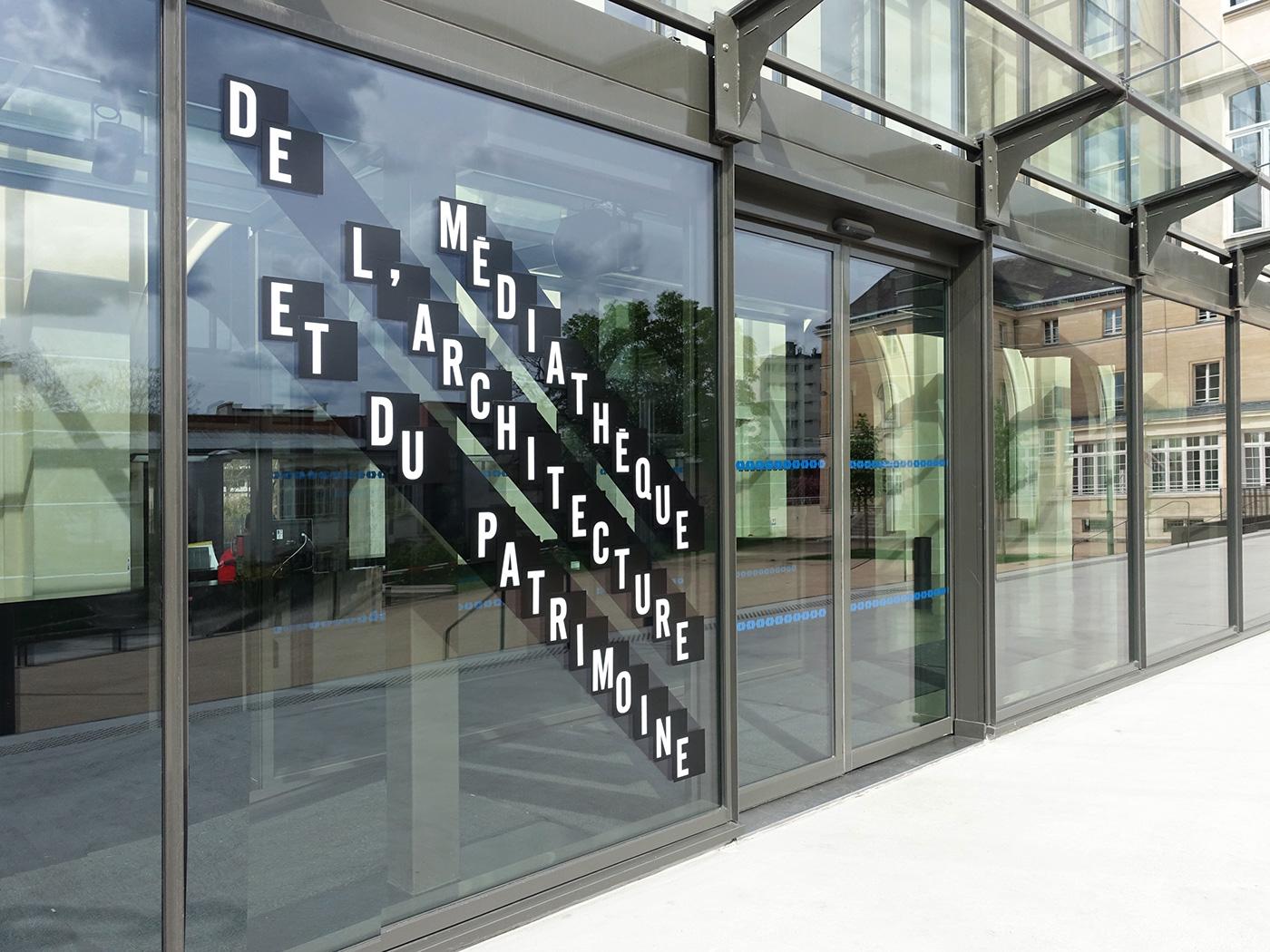 Signalétique de la Médiathèque de l'Architecture © Des Signes