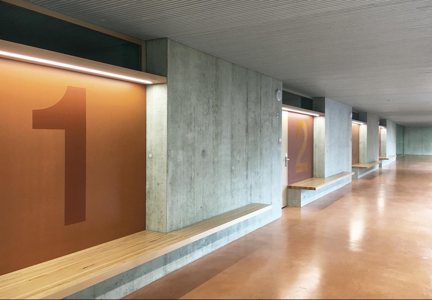 Massagno小学体育馆环境图形设计©Central studio