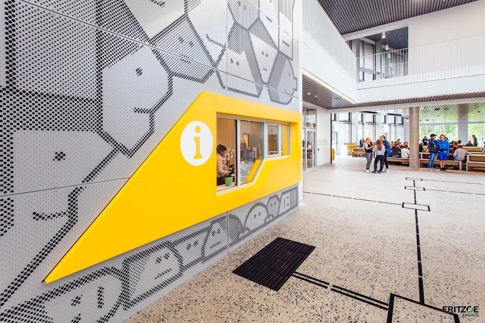 Rygge市高中门厅穿孔壁画设计©elkemo