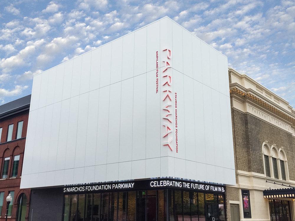 Parkway剧院和马里兰州电影节环境图形设计 © POST TYPOGRAPHY
