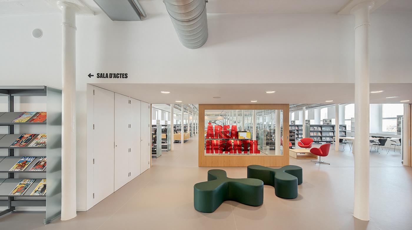 biblioteca el molí,图书馆标识 © pfp,disseny